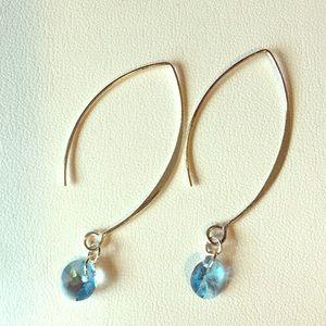 Jewelry - Sterling silver blue crystal long earrings